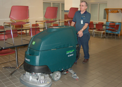 Using high tech machinery to maintain floors at NETL in Morgantown.